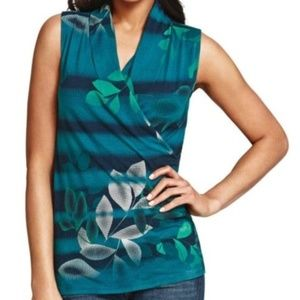 CAbi 941 Teal Floral Wrap Sleeveless Top S
